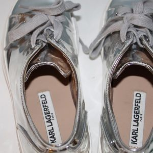 Karl Largerfeld Silver Metallic Sneakers